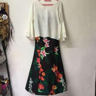 one set joda poplook skirt and bell sleeve white top