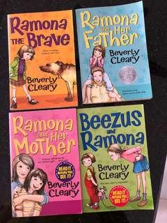 Ramona by Beverly Cleary x4 books