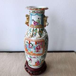 Vintage 19thC Famille  Rose  Canton celadon vase