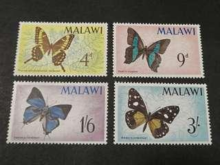 Malawi 1966. Malawi Butterflies complete stamp set