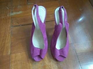紫色女裝高踭(3吋)涼鞋