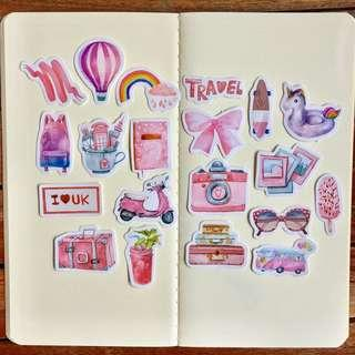 Travel in Pink Sticker Set