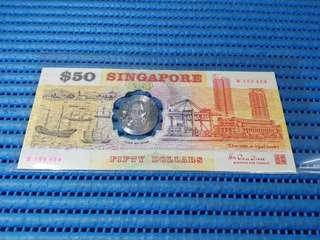 Error 1990 Singapore 25th Anniversary SG25 $50 Commemorative Note B 105424 Error Shift to the Right