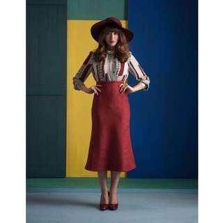 全新 Marjorie 復古麂皮紅裙  WW18336809