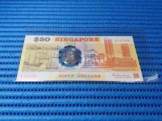 Error 1990 Singapore 25th Anniversary SG25 $50 Commemorative Note B 105430 Error Shift to the Right