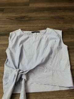Zara inspired light blue stripe top blouse with tie