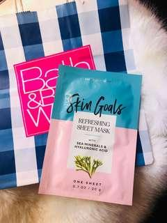 Bath and Body Works REFRESHING WITH SEA MINERALS & HYALURONIC ACID FACE SHEET MASK