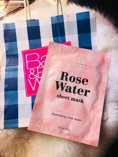 Bath and Body Works ILLUMINATING ROSE WATER Face Sheet Mask