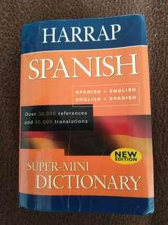 Super mini Spanish to English and vice versa dictionary