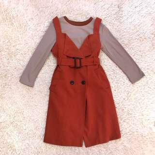 Knitted Top & Coat Dress with Belt