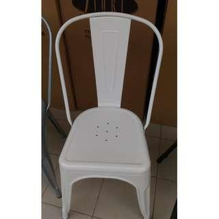 NEW WHITE METAL CAFE CHAIR