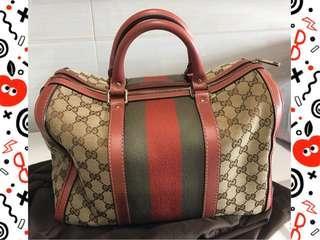 Gucci Vintage Web Monogrammed Coral Leather Medium Trim Boston bag Handbag 旅行袋 手袋
