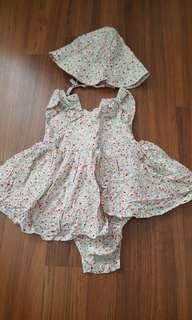 H&M baby girl flower dress with matching hat set