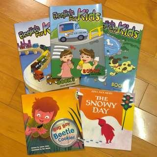 全5本 幼兒英語學習 English for Kids 3本 及 The Snowy Day + Bug Boy Beetle Cookies 課外閱讀簡單故事書2本
