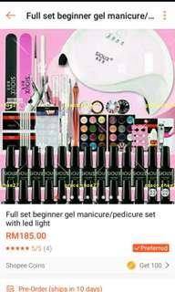 Gel colors Manicure pedicure begginer set with LED light dryer