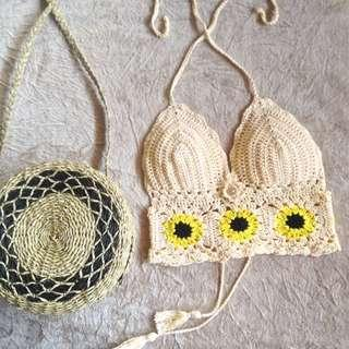sunflower croptop (crochet top)