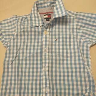 🚚 Tommy 短袖格子襯衫 全新品 100元
