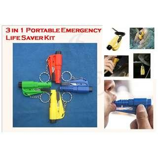 3 in 1 Emergency Life Saver Rescue Tool.  Small and Portable, Key Chain. Seat Belt Cutter, Window Breaker and Whistle