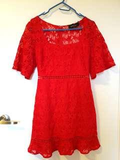 Minkpink red lace dress