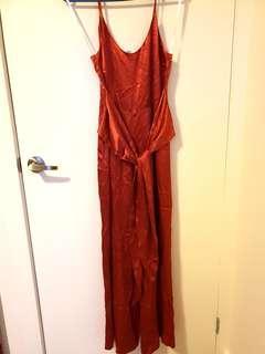 Minkpink orange/ red jumpsuit