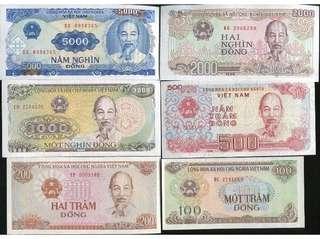 Vietnam 1987-91 ~ Unc ~ 6 pcs !