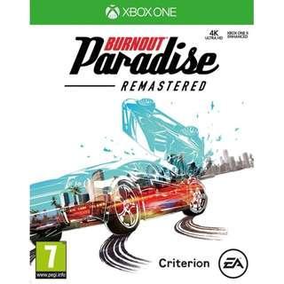 (NEW) X1 XBox One X Burnout Paradise Remastered (European PAL, English)