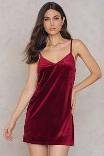 Wine Red Velvet Mini Dress