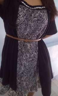 Printed Dress with Black Drape