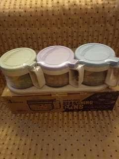 🚚 📢全新-北歐色圓型玻璃調味罐三件套組(含勺+底座)#現貨