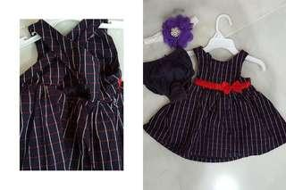 Hush Puppies Navy Blue Dress Free New Hair Band for 3mths-12mths Baby Girl