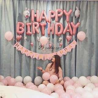 Pink Letters Happy Birthday Foil Balloons Matte Balloon Party Decoration