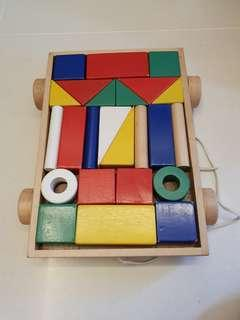 Ikea Wooden Blocks with Cart