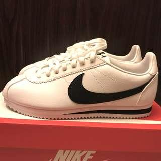 New Nike Classic Cortez Leather Black White US 9