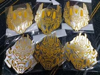 HK$10/1PAIRS ~ 全新變形金鋼金屬貼 可用作汽車裝飾, 玻璃窗及其他裝飾 New Transformer Robot Metal Stickers