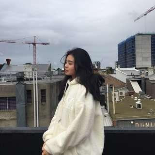 Fluffy white/ cream hoodie