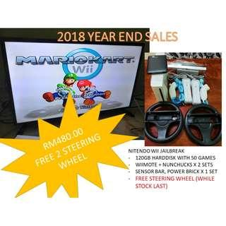 Nitendo Wii + 120gb Full game + 2 Steering Wheel