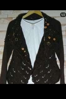 Brown knitted cardigan with beadings