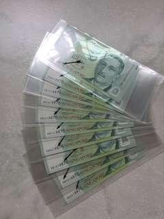 新加坡鈔人頭$5同号码11张。