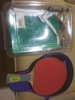Table Tennis Net with Clamps and Bat