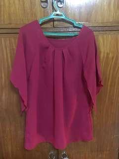 Batwing blouse(maroon)