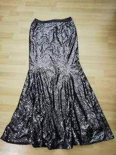 Zalia Mermaid Maxi Skirt Gun Metal Sequin