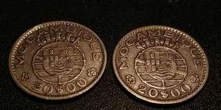 莫桑比克20盾銀幣兩枚 NEF