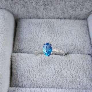 🚚 天然頂級深藍托帕石鑽切面戒指