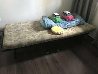 FREE! Foldable single size bed + mattress