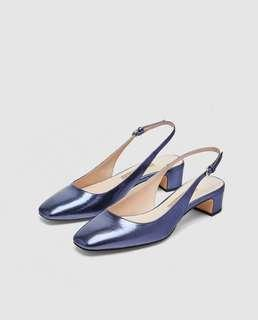 [PRICE REDUCED] Zara Mid-Heel Slingback Shoes in Shiny Blue