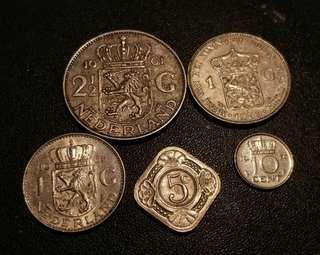 荷蘭銀幣及鎳幣共五枚(Ef-Unc)