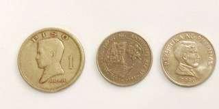 6-piece Philippine One Peso 1972-2000
