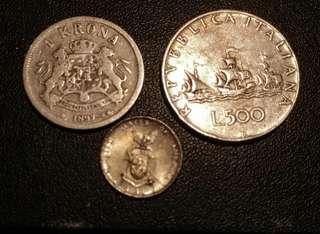 瑞典,菲律賓,意大利銀幣各一枚