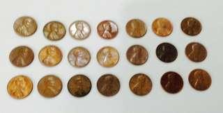 21-piece Vintage 1US Cent (Penny)