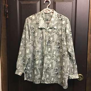 🚚 灰色方塊 幾何花朵復古 襯衫 古著 #十月女裝半價